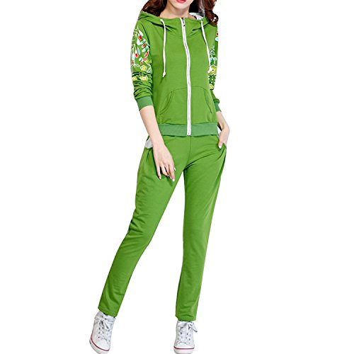 [Karenemp Dresses Women's Floral Print Long Sleeve Hoodie Spring Zip up Tracksuit GreenTag XL(US M)] (Spanish Themed Dress Up Ideas)