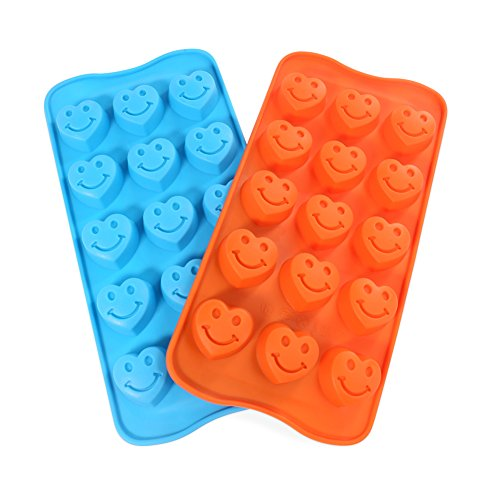 Candy Making Molds, 2PCS YYP [15 Cavity Smile Face Shape Mold] Silicone Candy Molds for Home Baking - Reusable Silicone DIY Baking Molds for Candy, Chocolate or More, Set of 2