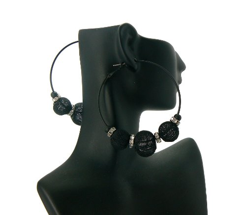 Black Basketball Wives Poparazzi Earrings with 3 Shamballa Disco Balls and Iced Out Mini Loops Lady Gaga Paparazzi