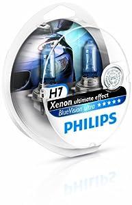 Philips BlueVision ultra Xenon-Effekt H7 Scheinwerferlampe 12972BVUSM, 2er-Set