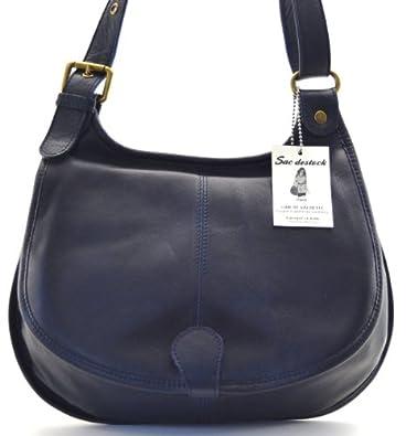 """SAC DESTOCK - Sac à Main CUIR """"Souple"""" - Réf: MALAGA / Nouvelle Colllection / Promotion / Handbag Leather (BLEU FONCE)"""