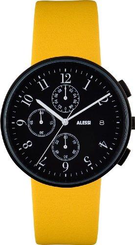 Alessi AL6400 - Reloj cronógrafo para hombre, correa de cuero color amarillo