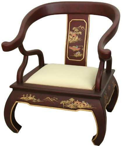 Oriental Furniture 32-Inch Chinese Ming Chair, Red Lacquer