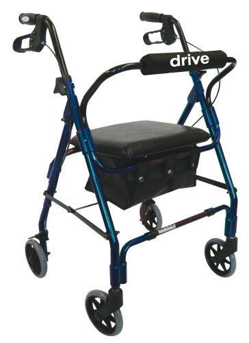 Drive Medical 10208PSBL-1 Go-Lite Rollator Blue with Padded Seat, Blue