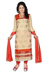 JHEENU Orange Chiku Women's Chanderi unstitched Straight Salwar Suit dress ma...