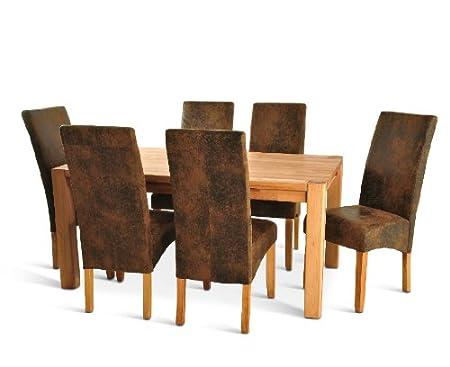 SAM® Tischgruppe 7 tlg., mit 1 x Kernbuchentisch und 6 x Stuhl in Wildlederoptik , massiver geölter Tisch, Stuhle mit Pinienholzbeinen und Samolux®-Bezug [45641611]