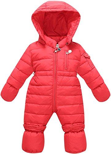 ZOEREA Piumino bambino invernale Tute da neve per neonato Tuta da neve Giacca bambina Tutina neonato con Guanti e copertura del piede 0-12 mesi