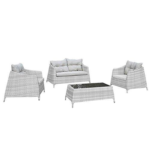 Set salottino in polyrattan divano poltrone tavolino design giardino M0906-08