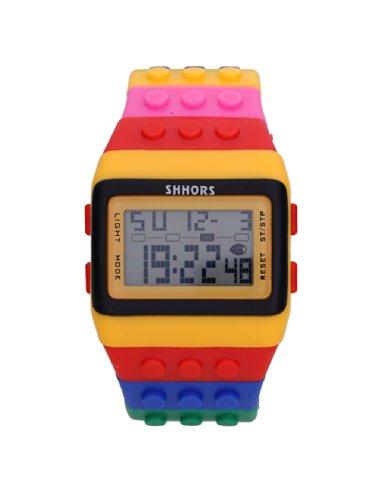 Baolihao Multi-Color Block Brick Style Wrist Watch With Led Night Light Wth0366