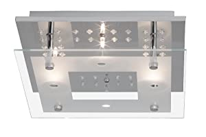 Levke Ceiling Fitting 4 Lights with Decorative RGB LED / Remote Control / 4x 16 W Halogen G4 Metal / Glass Frosted / Transparent from Brilliant