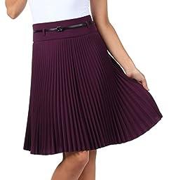 Sakkas FV3543 Knee Length Pleated A-Line Skirt with Skinny Belt - Purple / Small