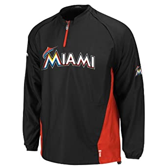 MLB Miami Marlins Gamer Jacket, Black Red by Majestic