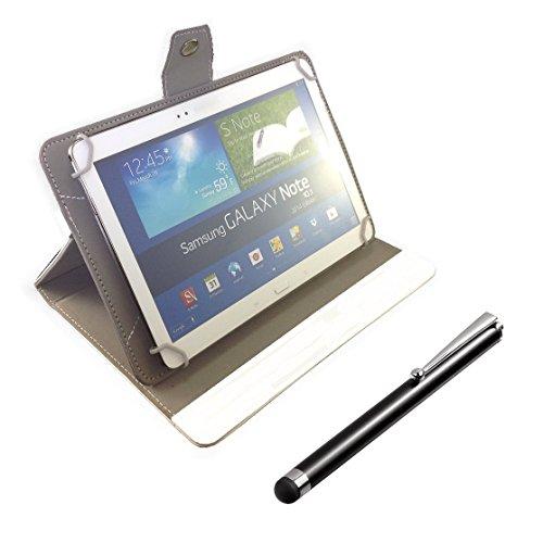 ONEKLICK 7 Zoll Tablet Universal Bookcase Cover Tab Case PC Tasche Etui Hülle Flip Book aus Kunst Leder + Stylus Touchpen Touch Pen Eingabestift Stift passend für Ployer Momo7 IPS