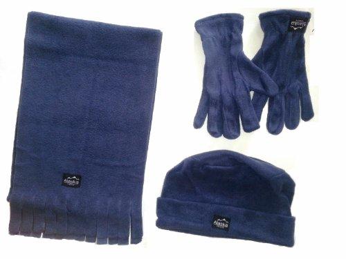 WINTER Fleece Set 4- teilig für Männer bestehend aus 1 Schal, 1 Mütze und 1 Paar Handschuhe- erhältlich in 3 Farben Farbe blau
