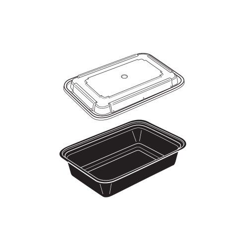 Newspring 19510889 38 Oz. Black Rectangular Container - 150 / Cs