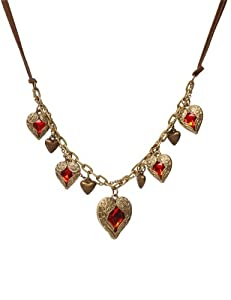 Lovers2009 Retro Angel Wing Love Ruby More Peach Heart Leather Cord Short Necklace