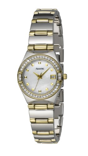 Accurist Ladies Two Tone Stone Set Bracelet Watch LB1661 With Mother Of Pearl Dial