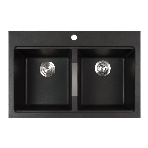 Find Discount Kraus KGD-433B Dual Mount 50/50 Double Bowl Onyx Granite Kitchen Sink, 33 1/2-Inch, Bl...