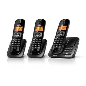 Philips CD1753B DECT Trio ECO Cordless con segreteria telefonica (XHD High-End Sound, Display alfanumerico illuminato, Due unità aggiuntive + base di carica, Funzione CLIP)
