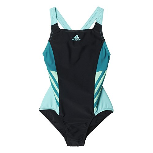 adidas Mädchen Badeanzug I INS 1PC G, Black/Eqtgrn/Grngl, 128