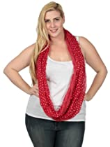 Simplicity Infinity Scarf with Double Sided Polka Dot Print, Red