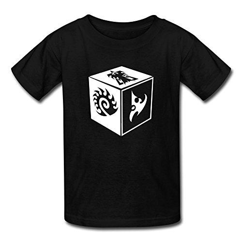 Mzone Funny Child Starcraft 2 Game Protoss Terran Zerg Symbol Short Sleeve Size M Black