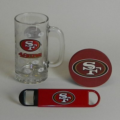 San Francisco 49ers Beer Mug, Speed Opener & Coasters Set | 49ers NFL Bar Set at Amazon.com