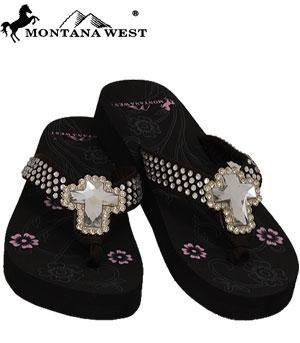 Coffee Montana West Cross Rhinestone Western Sandal Flip Flop(Size-8) back-45532