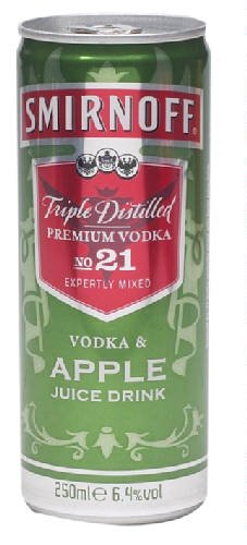 Smirnoff Vodka & Apple (Dose) 12 x 25 cl. Alk. 6,4% vol. Premium Mix aus Smirnoff Wodka und Apfelsaft. Partydrink, Cocktail-Mix