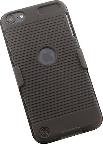 iPOD TOUCH 5 6 CASE BELT CLIP, NAKEDCELLPHONE'S BLACK RIBBED HARD CASE COVER + BELT CLIP HOLSTER STAND STAND FOR APPLE iPOD TOUCH 5th 6th GEN 5 6 (models A1574, A1509, A1421) (Ipod Model A1421 compare prices)