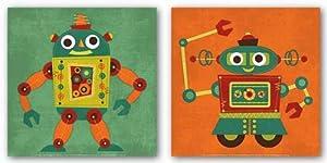 """Robot Set by Nancy Lee 12""""x12"""" Art Print Poster"""