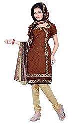 Jinal Fashion women's crepe dress material (Brown_color)