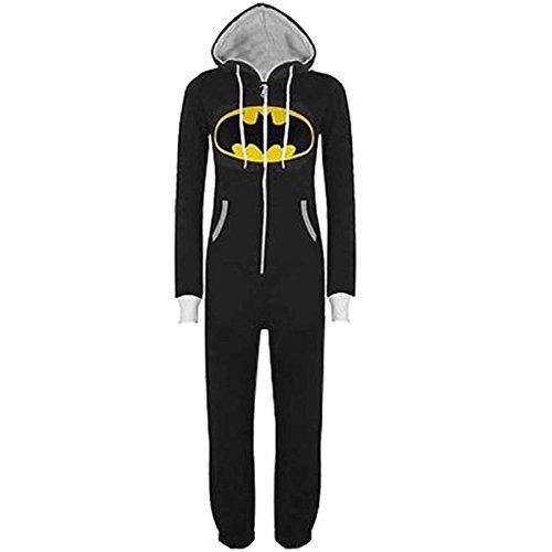 Casa Monopezzo - Uomo Unisex Batman Superman Casualwear Onesie In Tinta Unita Cappuccio Con Risvolto Chiusura Con Zip Front Tuta Intera Nero M