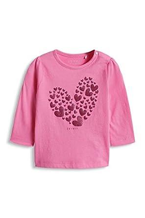 esprit Baby Girls Cats Long Sleeve T-Shirt, Mallow Pink, 3-6 Months (Manufacturer Size:62)