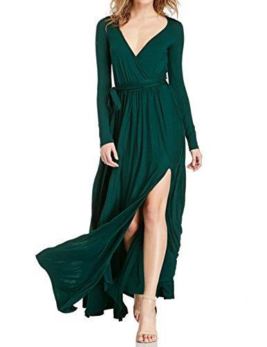 Gameyly Women's Long Sleeve Slit Full Length Maxi Dress (X-Large, Emerald)