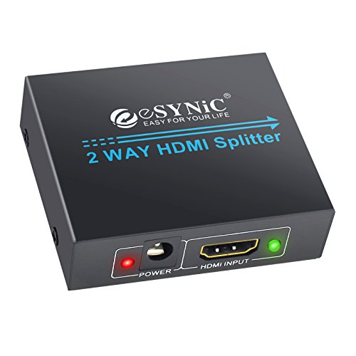 eSynic 1x2 HDMI Splitter 1 in 2 Out, HDMI Powered Splitter Repeater HDMI Amplifier Switch Support Full HD 1080P 3D for HDTV PS3 PS4 Xbox360 DVD PC Blu-ray Player Apple TV - One Input to Two Outputs