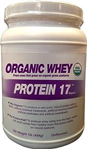 Organic Whey Protein 17 Supplement Powder, Delicious Natural, 1 Pound