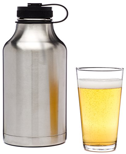 Stainless Steel Beer Growler for Drinking Craft Beer - 64-Ounce Wide Mouth - Insulated - Silver