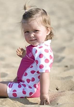 One Piece Zippered Sun Suit UPS 50+ by Snapper Rock - Hot Pink/White Size: 0 -6 mths (height upto 26 inch)