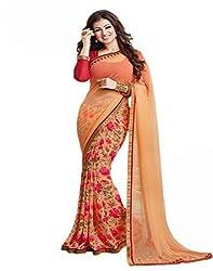 Purva Art Aayesh Orange Saree With Blouse