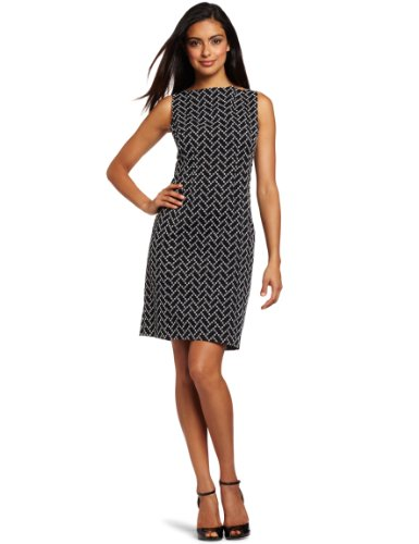 Jones New York Women's Sheath Dress, Black/White, 10