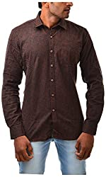 Casinova Men's Cotton Casual Shirt (1067_C-Medium, Brown, Medium)
