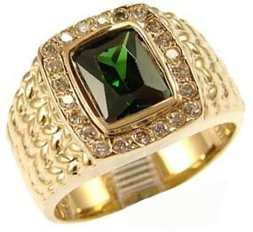 14K Yellow Gold, Fancy Ring For Men Guy Gent With Brilliant Lab Created Gems Dark Green Center