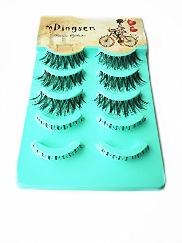 C.X.Z Hot Lady Clear Strip Band Handmade Upper&Lower Bottom Mixed Assorted Packing Natural Long Black Soft Fake Eyelashes False Eye Lashes (5 pairs each box X 2 boxes,10 Pairs in total)