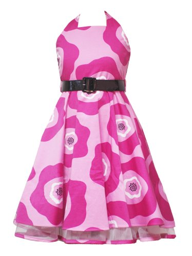 Rare Editions Girls 2T-6X FUCHSIA-PINK WHITE BIG FLORAL PRINT HALTER Special Occasion Wedding Flower Girl Party Dress RRE-33450S-S733450-6x
