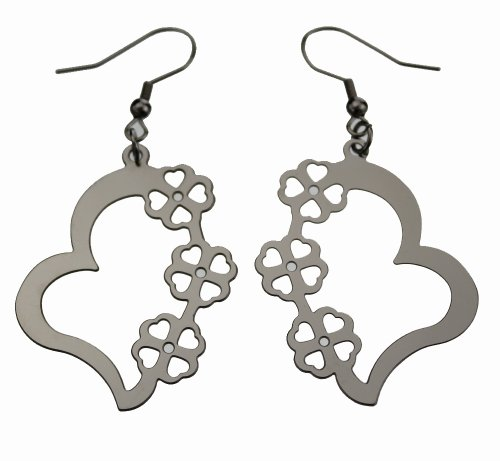 Flower / Heart Dangling Earring, Finest Quality Stainless Steel Jewelry