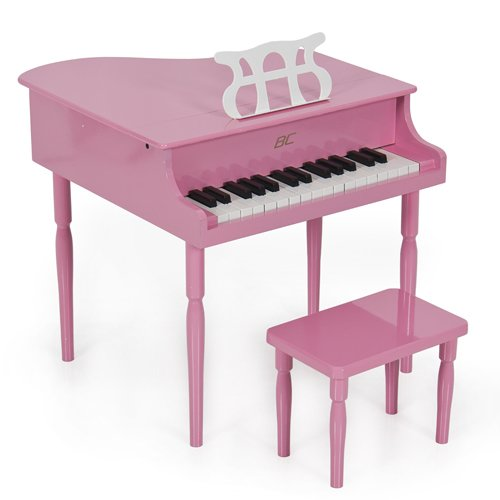 Pink Childs Wood Toy Grand Piano with Bench Kids Piano 30 Key (Kids Piano With Bench compare prices)