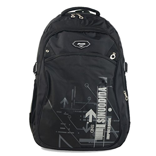 Zerd Nylon Waterproof Sports Travel Camping Students Laptop Backpack Black front-264399