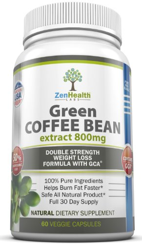 Pure Green Coffee Bean Extract 800mg - EXTRA Strong ULTRA Premium Weight Loss Supplement - (50% Chlorogenic Acid) - Lose Weight Naturally With This MAX Strength Diet Pill / Fat Burner - 1600mg Per Day For Fast Easy Weight Loss - Full 30 Days Supply