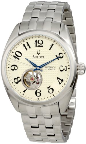 Bulova Men's Mechanical 96A124 Silver Stainless-Steel Automatic Watch with Beige Dial